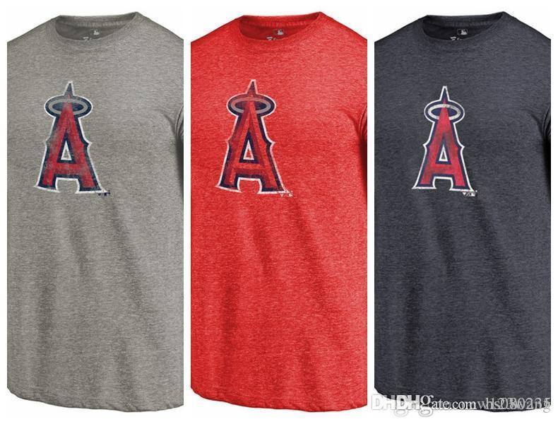 f1b0410dd75 2019 Men S T Shirt Los Angeles Angels Of Anaheim Distressed Team Tri Blend  Short Sleeves T Shirt Color Red Heathered Navy From Hs080235