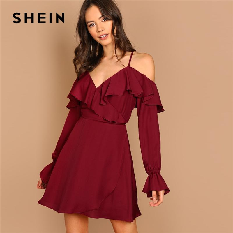 0ccb02bb7fe SHEIN Burgundy Party Elegant Solid Ruffle Open Shoulder Flounce Trim Wrap  Long Sleeve Dress Autumn Sexy Night Out Women Dresses Formal Evening Dress  Floral ...