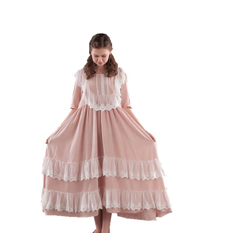 Online Cheap Women Sleepwear Gown Dress Lace Cotton Nightgown ...