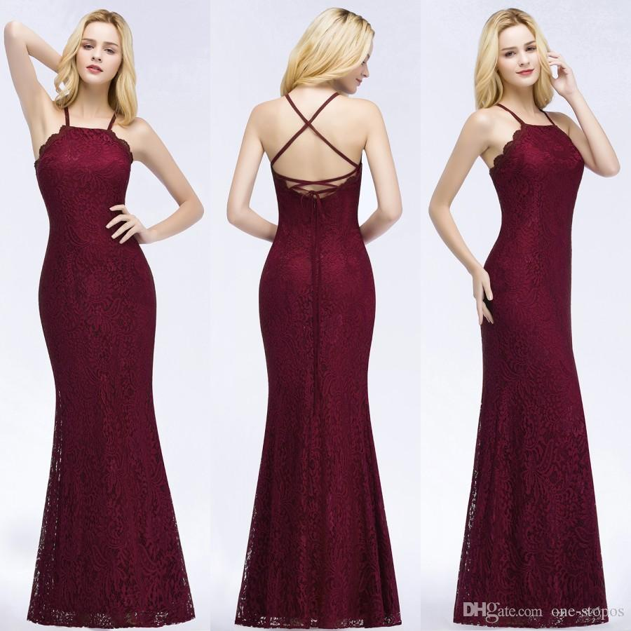 9ac1954881 Burgundy Lace Mermaid Bridesmaid Dresses Halter Bandage Sleeveless Long  Country Style Maid of Honor Gowns Wedding Guest Dress CPS876