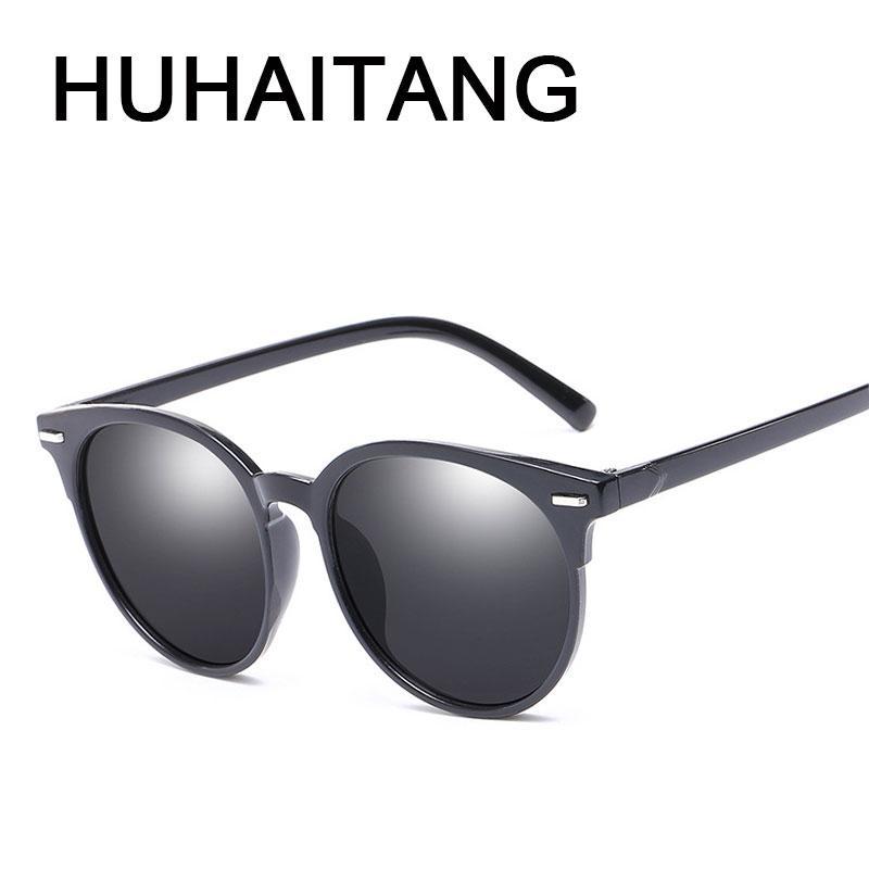 f2b3cf2e0b4 HUHAITANG Fashion Rivets Sunglasses Women Vintage Female Oval Simple ...