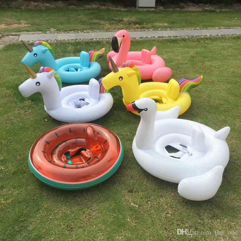 Baby schwimmring einhorn sitz aufblasbare einhorn pool float baby sommer wasser spaß pool spielzeug schwan flamingo kinder schwimmen float