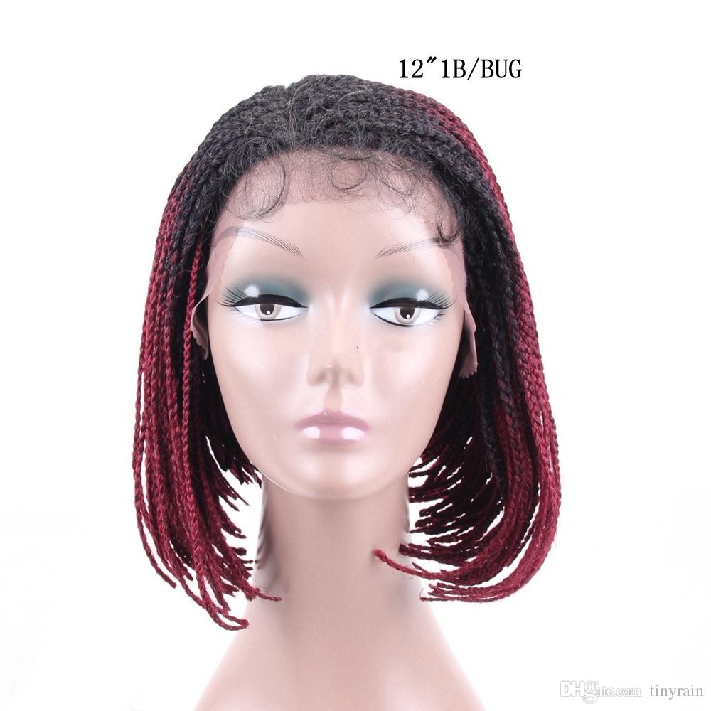 afro lace braid wig kanekalon hair bob lace wig with cochet braid