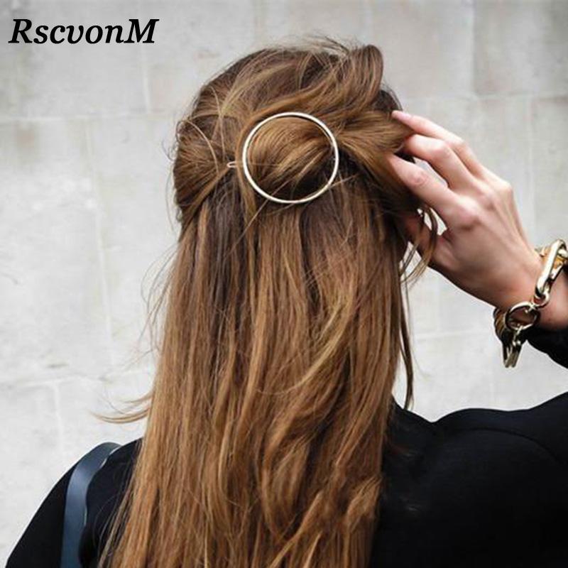 Top quality Gold Silver Color Metal Triangle Hairpin Girls' Hair Clips Women Fashion Hair Accessories Circle Hair Clips Hairpins