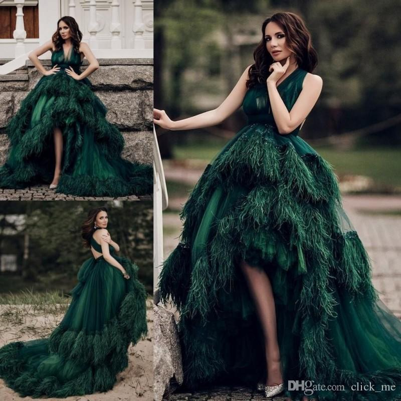 2018 Luxury Dark Green High Low Prom Dresses Long V Neck Layers ...