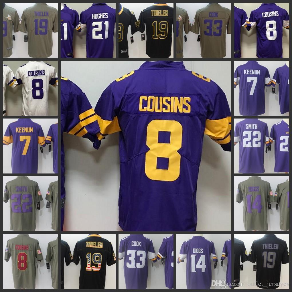 wholesale dealer 977ba a31aa 8 Kirk Cousins Minnesota Vikings 19 Adam Thielen 14 Stefon Diggs Jersey 22  Harrison Smith 33 Cook 21 Hughes Jerseys