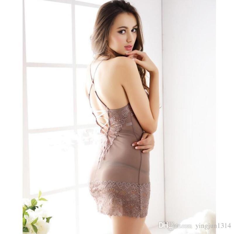 Venta al por mayor caliente de las mujeres de encaje íntimos sexy slips completos perspectiva deslizamiento spandex ropa de mujer envío gratis