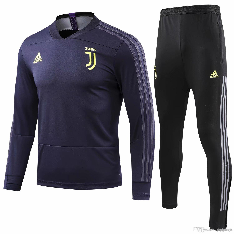 f7a84f398c Compre Novo 18 19 Temporada Juventus Jaqueta A Liga Dos Campeões CR7  Uniforme De Futebol 2018 2019 Casa Longe Fatos De Treino Camisa De Futebol  Costa Treino ...