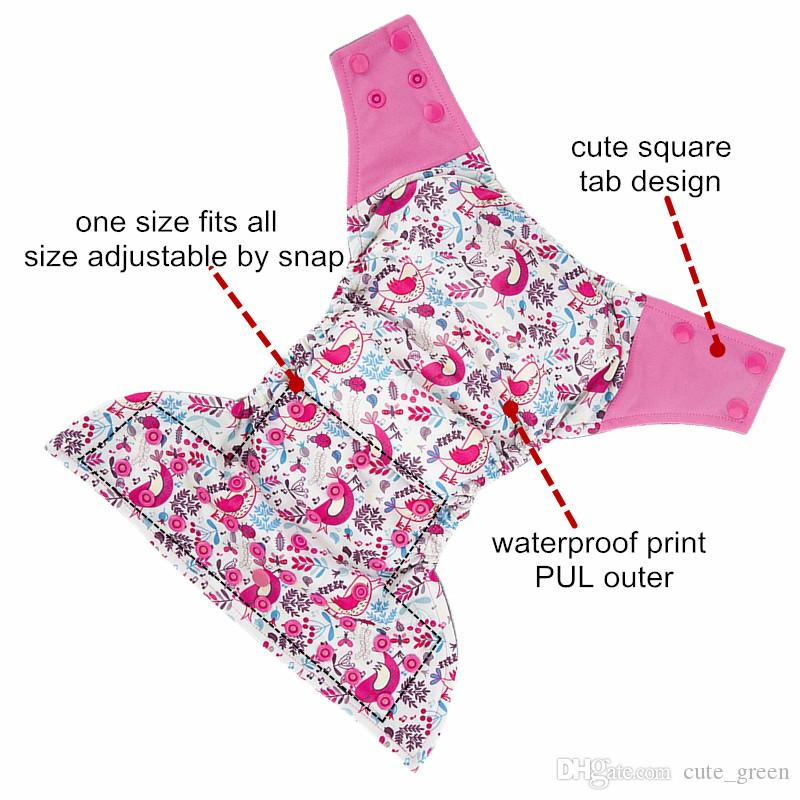 One Size Waterproof PUL Microfleece Inner Baby AIO Cloth Diaper With Microfiber Insert Sewn Infant Baby Nappy Cover Pant Washable Nappies