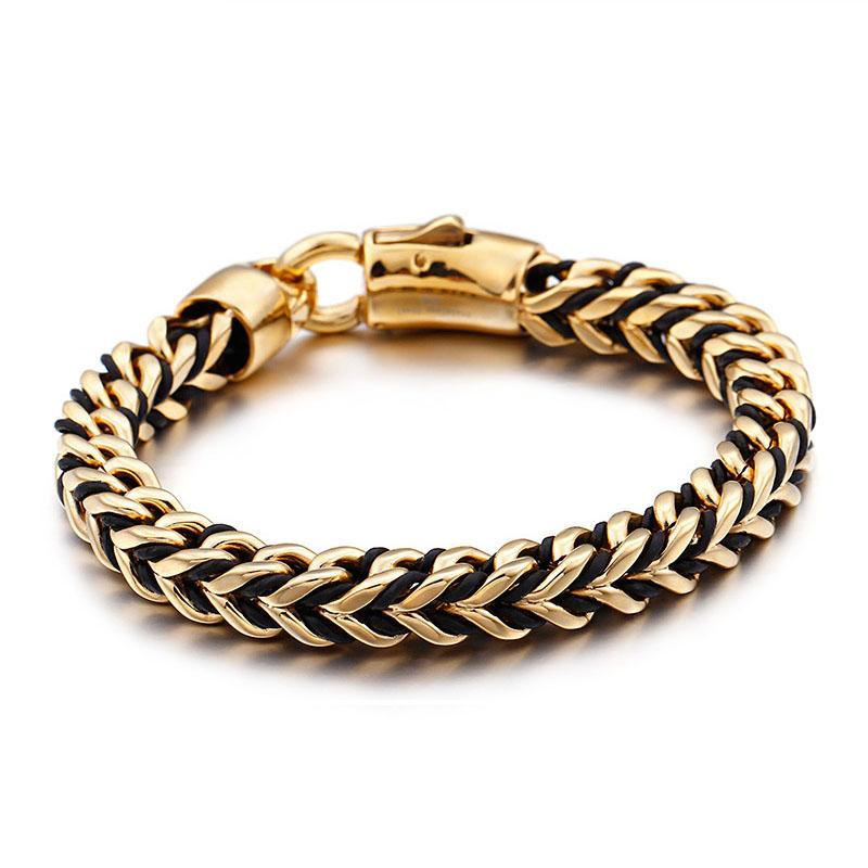 88b475a586fc2 Latest New Braided Wrap Leather Men s Bracelet Gold Color Stainless Steel  Chian Link Bracelets & Bangles For Men Jewelry