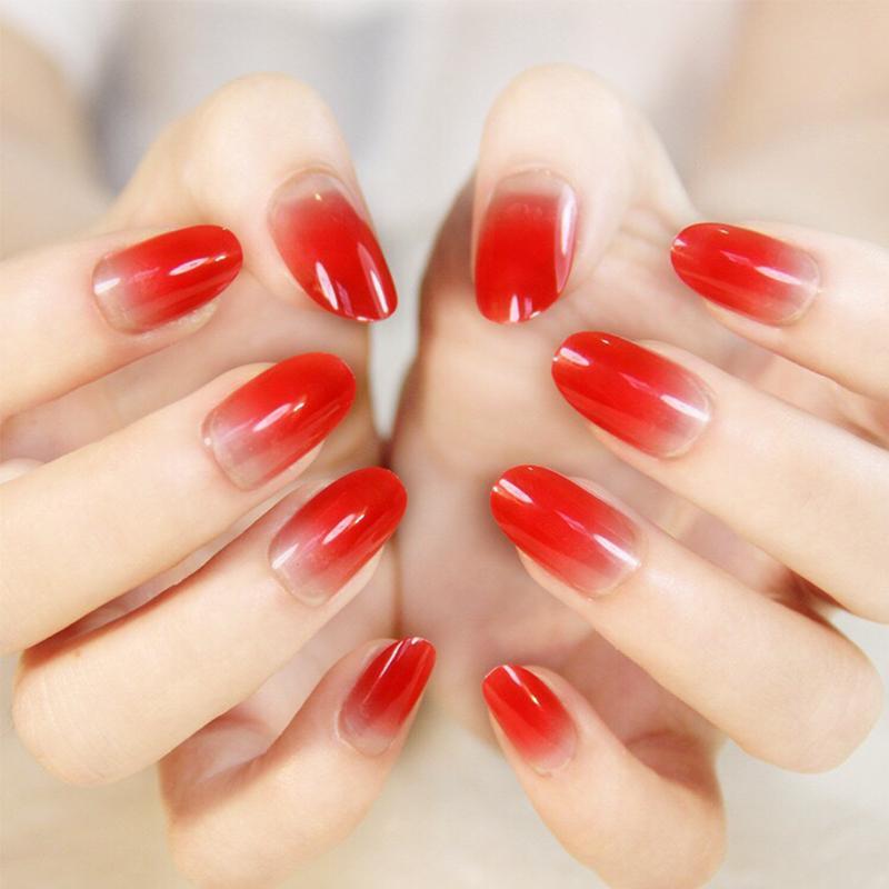 Grosshandel 24 Teile Satz Elegante Gradienten Falsche Nagel Rot