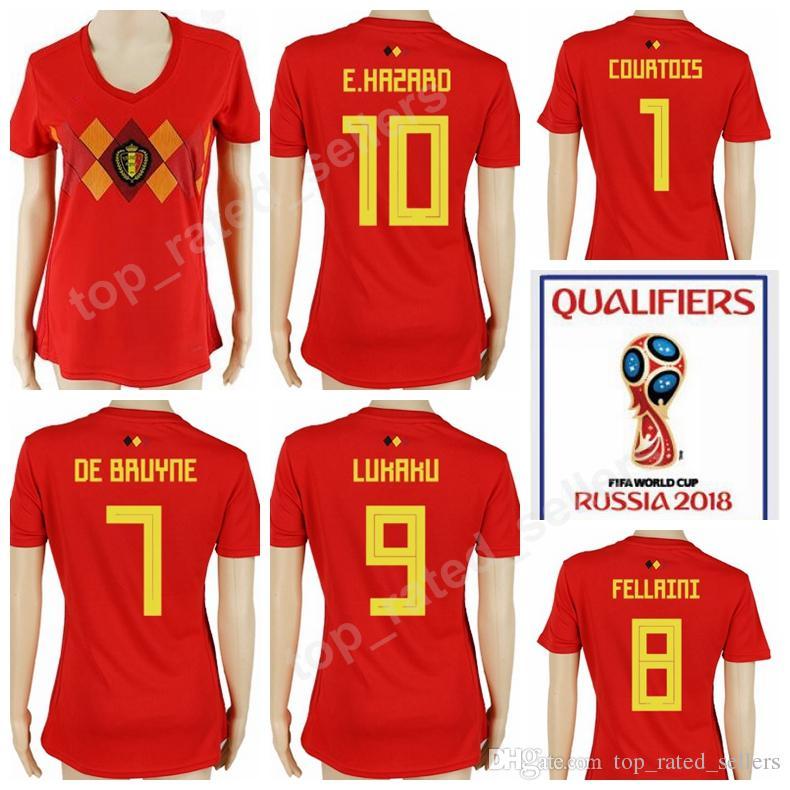 d0aec0ea9 2019 2018 World Cup Women Soccer Jersey Belgium Woman Eden Hazard Football  Shirt Lady Uniform Home Red 4 Kompany 8 Marouane Fellaini 9 Benteke From ...