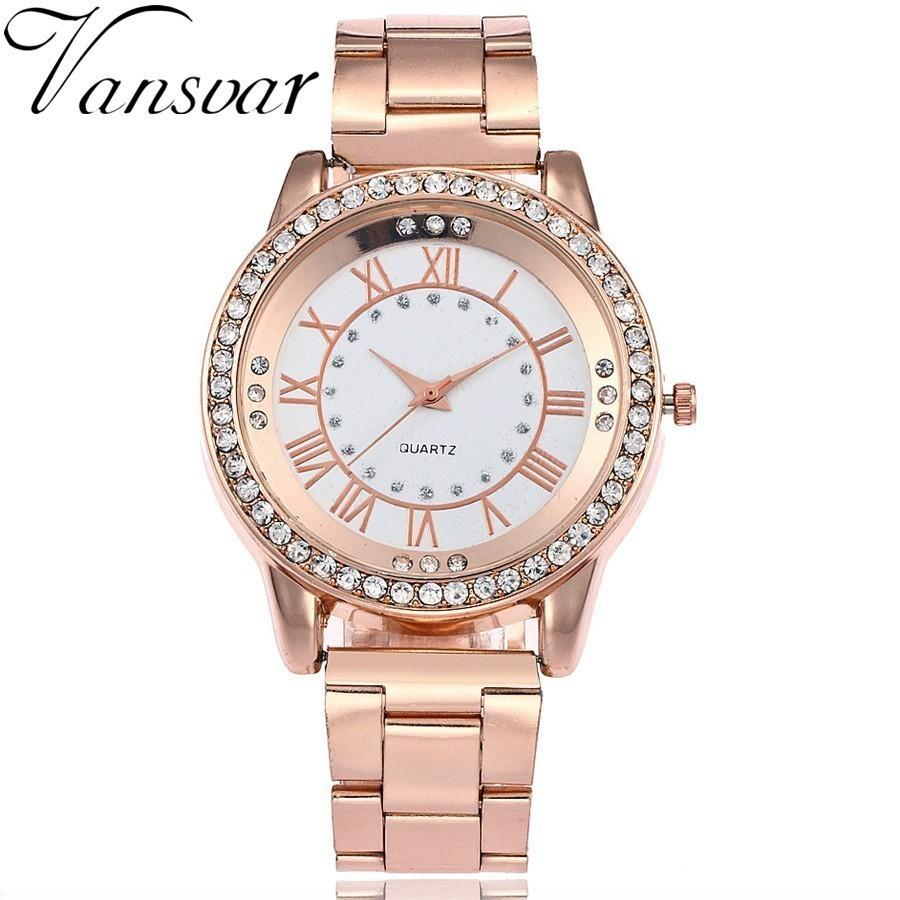 Vansvar Brand Rose Gold Watch Luxury Women Dress Rhinestone Quartz Watch  Casual Women Stainless Steel Wristwatches Female Clock Gold Watches  Expensive ... a82713327180