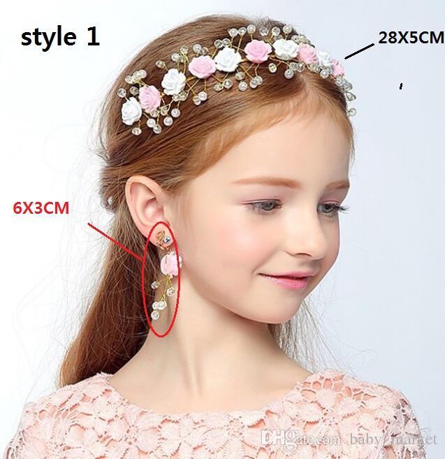 8 stil! Çiçek Kız Saç Süsleme Düğün için Güzel Kızlar Kafa Simüle Inci Çiçek Taç Tiara Beyaz Prenses Headdress Hairwear