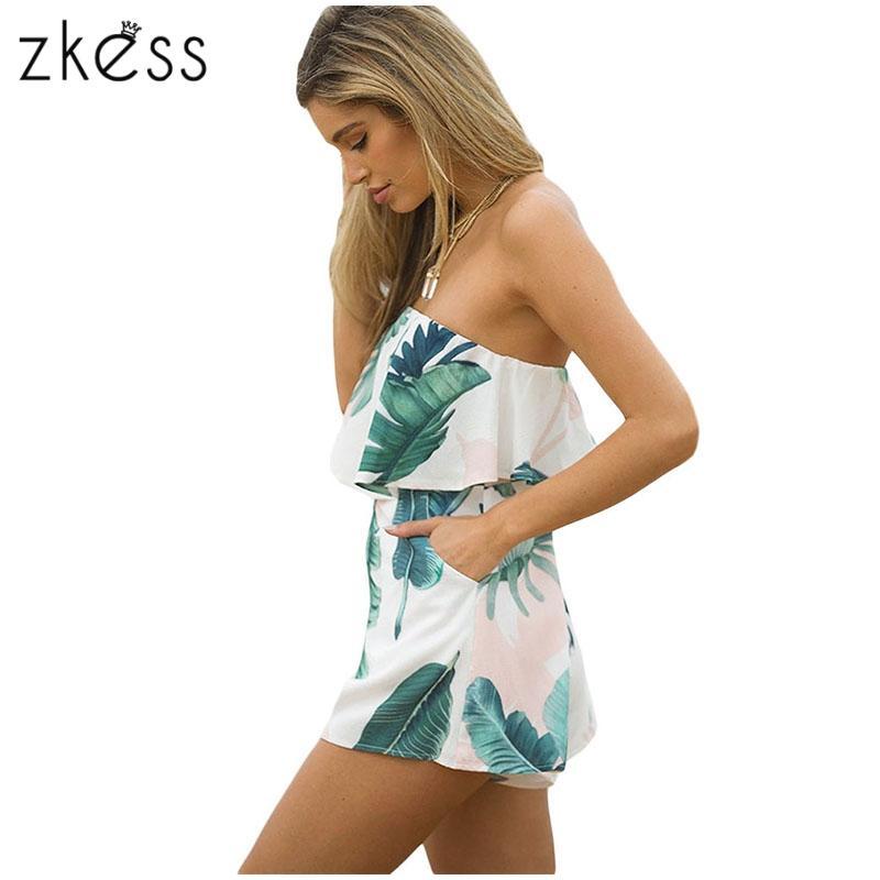Zkess 2017 Women off shoulder Jumpsuit ruffles Romper Summer Sexy Short playsuit High Waist casual One Piece Overalls newLC64281