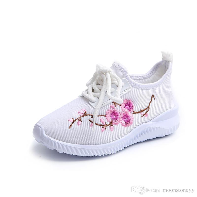 newest 72c38 0f471 Blumenstickerei Chinesische Kinder Schuhe Kinder Tennis Mädchen Rosa  Turnschuhe Für Mädchen Schuhe Mode kinder Weiße Laufschuhe