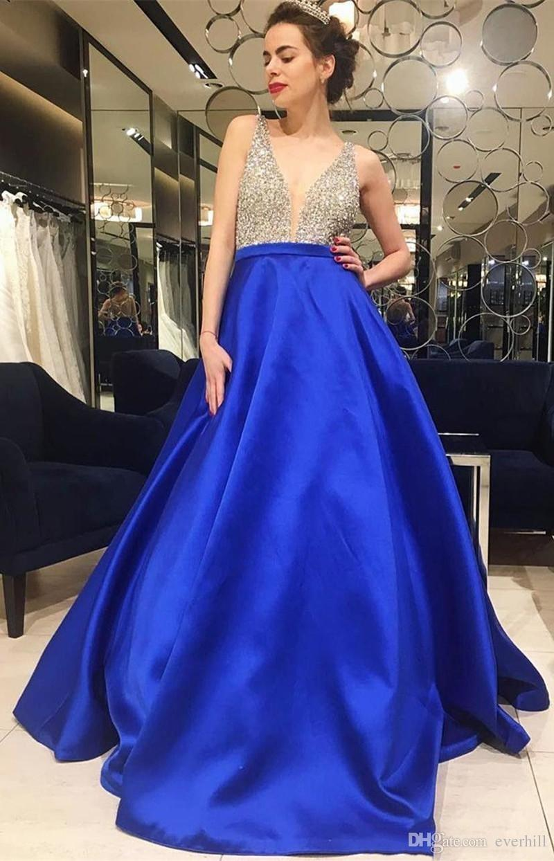 Sparkly Beaded Long Prom Dresses 2018 Royal Blue A Line Satin Sequins V-Neck Evening Dresses Formal Gowns For Graduation Summer Party Dress