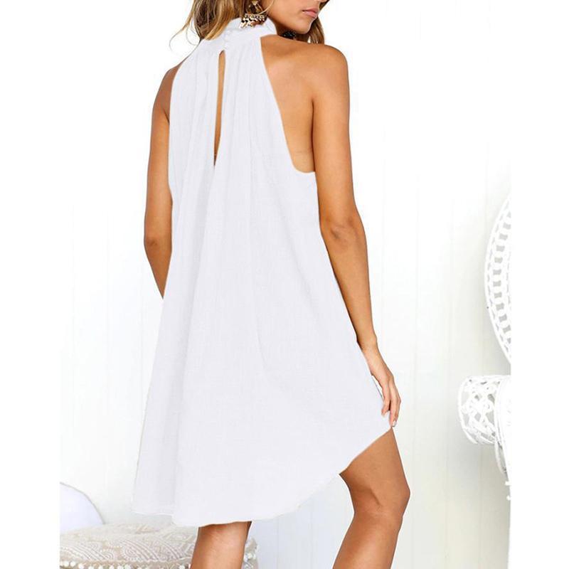 2018 Summer Women Dress Solid Sleeveless Loose Mini Casual Elegant Halter  Tunic Mini Boho Dresses Loose Plus Size Vestidos Online with  35.77 Piece on  ... e8ca697b7b5a