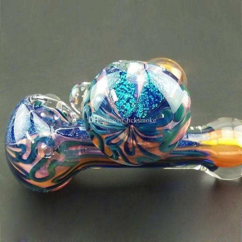 유리 담배 파이프 형광 담배 파이프 담배 파이프 손으로 파이프 pyrex 다채로운 숟가락 유리 물 파이프 흡연 액세서리