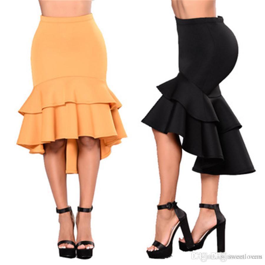 425d6e10ff4d 2018 Women Female Mermaid Skirt Slim Splice Solid Color Beautiful ...