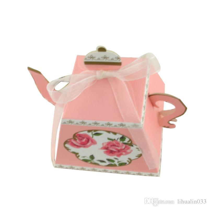 Al por mayor de partido real del boda del partido de té de la tarde caja de la tetera de caramelo Galletas caja de regalo favorece las cajas