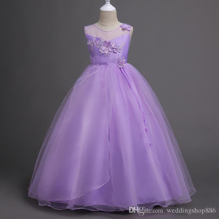 Flower Girl Long Dress Christmas Party Wear Kids Ball Gown Clothes ...