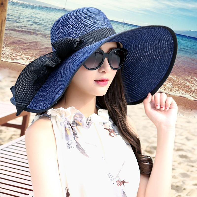 346e3365d87 Large Brim Sun Hat Summer Paper Straw Hats Women Ladies UV Protect Floppy Beach  Cap Party Drress Hats B 7834 Sunhat Eric Javits From Wutiamou