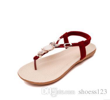 6debf038c44f Summer New Bohemia Owl Beaded Flat Sandals Clip Toe Sandals Large ...