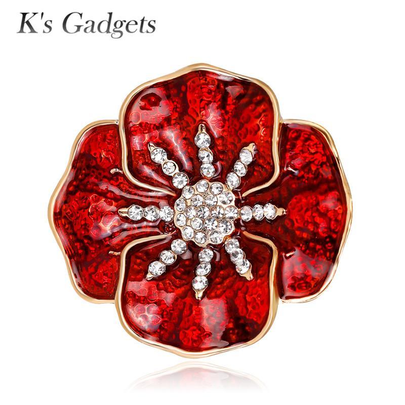 2019 Ks Gadgets Red Poppy Flower Brooch Pins Fashion Jewelry