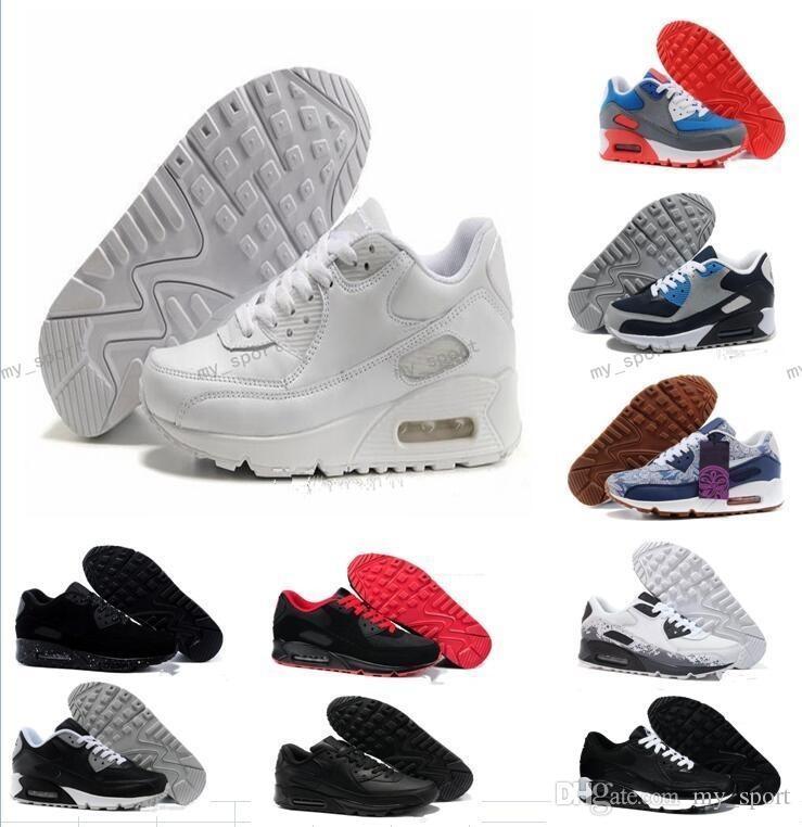87874819a77c0 Acheter 2018 Pas Cher Hommes Sneakers Chaussures Classique 90 Hommes  Chaussures De Course Femmes Sports Baskets Classiques Air Cushion Marque  Sneakers ...