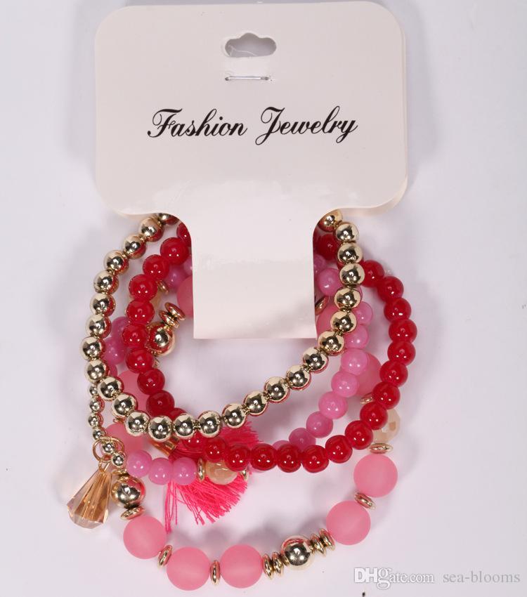 Bohemian Multilayer Resin Bead Bracelet Crystal Beads Tassel Elastic Bracelets Bangles Set for women 5 Styles FBA Drop Shipping G426Q