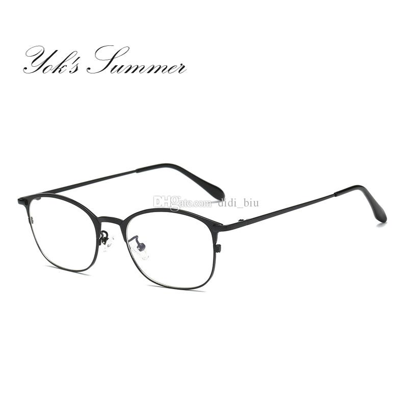 cefffa7686d 2019 Yok S Summer Anti Blue Ray Computer Gaming Glasses Women Men Vintage  Rectangle Half Frame Thin Metal Reading Eyeglasses UN048 From Didi biu