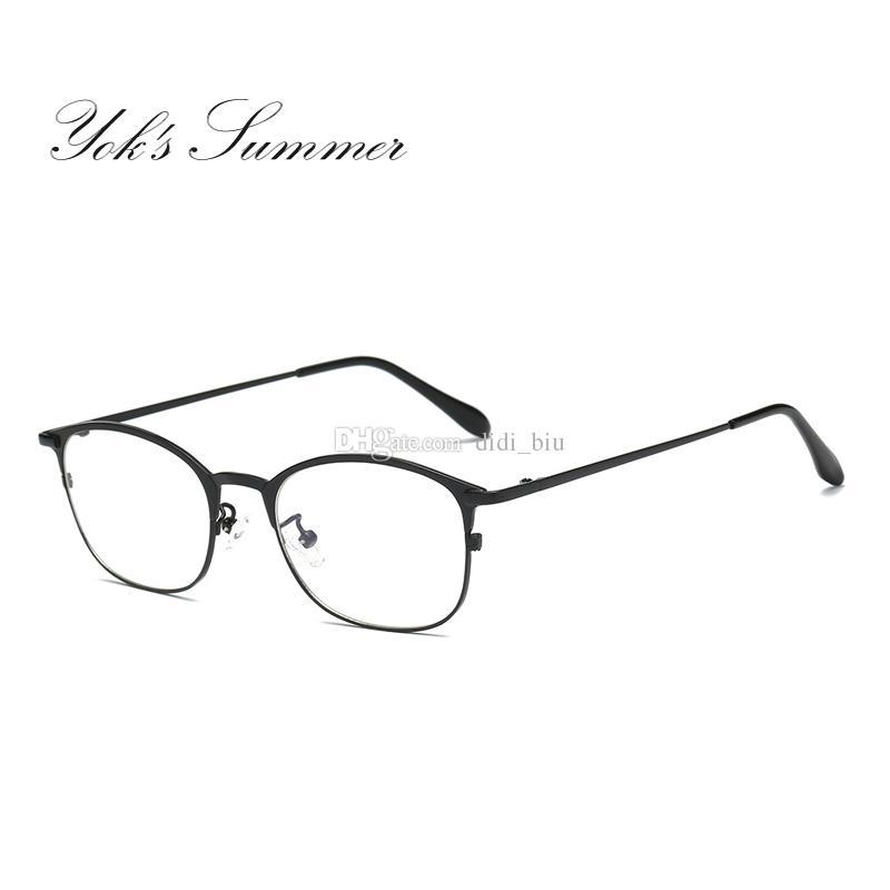 f14c2cc45c8 2019 Yok S Summer Anti Blue Ray Computer Gaming Glasses Women Men Vintage  Rectangle Half Frame Thin Metal Reading Eyeglasses UN048 From Didi biu
