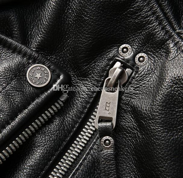 USA Harley-Angel motorcycle suit men's leather jacket lapel double oblique zipper short motor clothingThick cowhide leather
