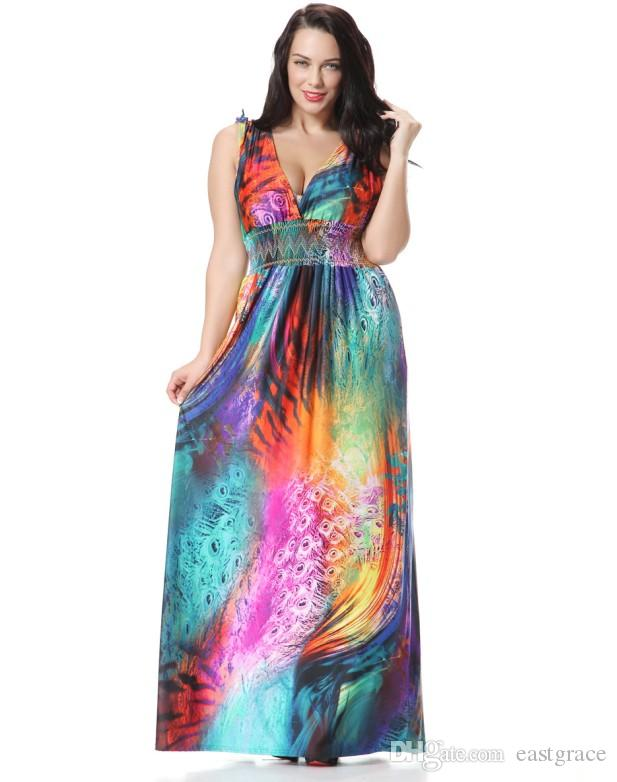 5c9787883a0 Rainbow Color Women Long Loose Maxi Dresses Sexy V Neck Summer Beach Dress  Floor Length Plus Size Dress Teenagers Party Dresses Green Sundresses From  ...