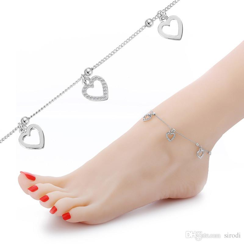 fashion heart anklets foot jewelry women sexy barefoot sandals ankle bracelet summer beach gold chain lady ankle bracelets