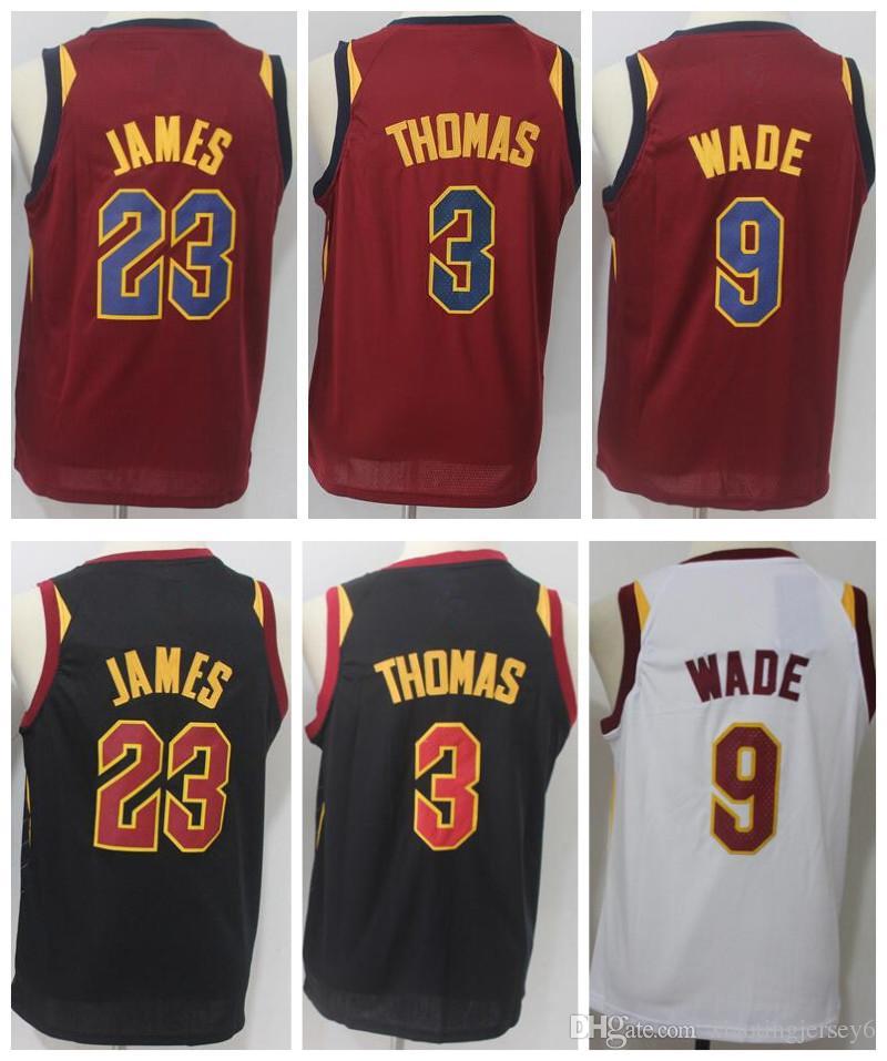 47ae02924 2018 New Youth 23 LeBron James Jersey 3 Isaiah Thomas 9 Dwyane Wade Stitched  Kid Basketball Jerseys Red White Black Size  S-XL 23 LeBron James Jersey 3  ...