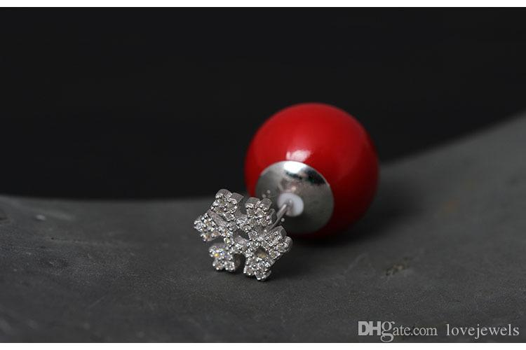 designer jewelry fashion 925 sterling silver stud earrings deer Pearl Lovely Christmas Zircon snowflake deer women china direct wholesale