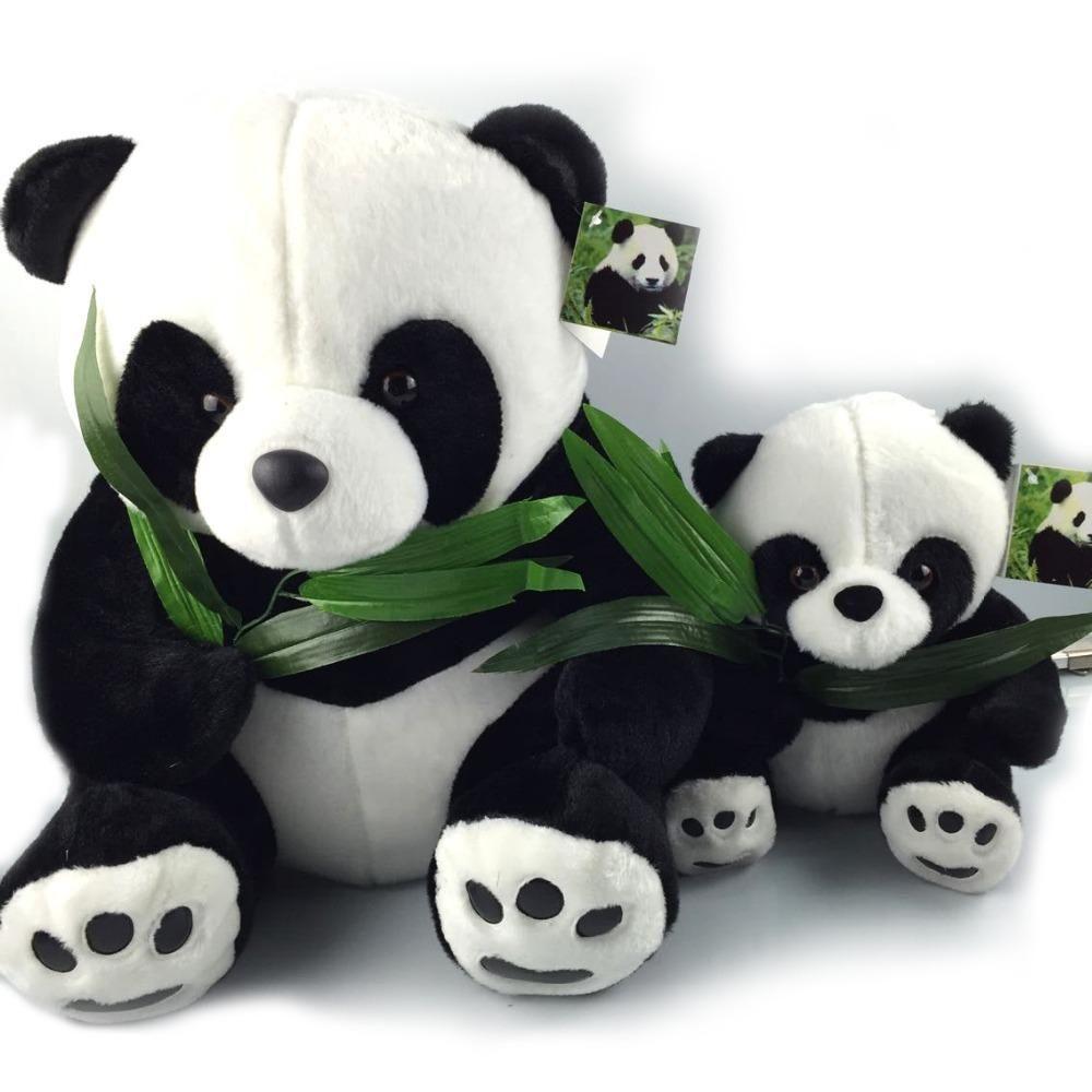 2019 Wholesale 40cm Giant Panda Plush Toys Sit Eat Bamboo Panda
