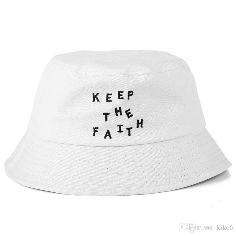 96ea080b652575 Fashion 2018 Bucket Cap Foldable Fishing Caps Keep the Faith Bucket ...