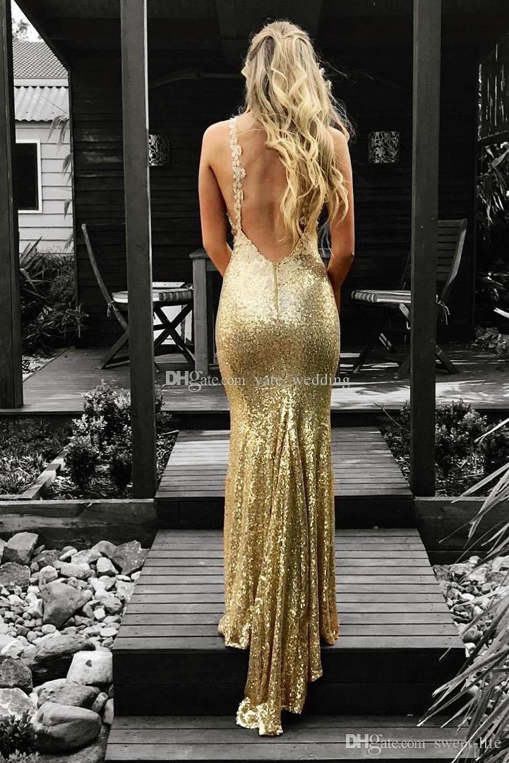 2020 Splendida Sequin promenade della sirena abiti con scollo a V appliquéd cinghie Backless Plus Size Fatto vestiti da sera sexy personalizzate