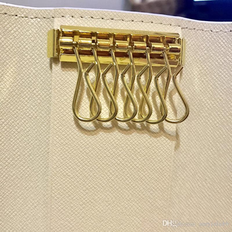 Atacado caixa original de luxo multicolor curto carteira seis chave titular das mulheres dos homens clássico com zíper bolso chaveiro frete grátis 62630