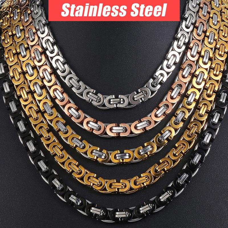 5c33f1a4627e Compre Cadena Collar Para Hombre Acero Inoxidable Oro Plata Negro Bizantino  Link Mens Collares Cadenas Joyería De Moda A  30.54 Del Redjune