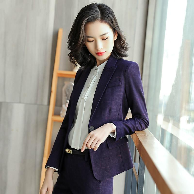 2018 Professional Women Plaid Dress Suit Female New Spring And