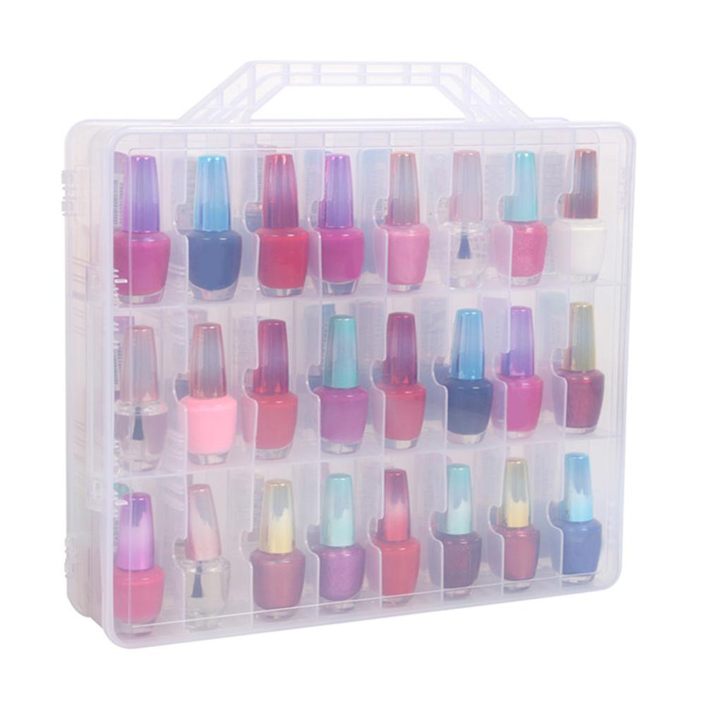 2018 Plastic Nail Polish Box 48 Bottles Adjustable Dividers Space