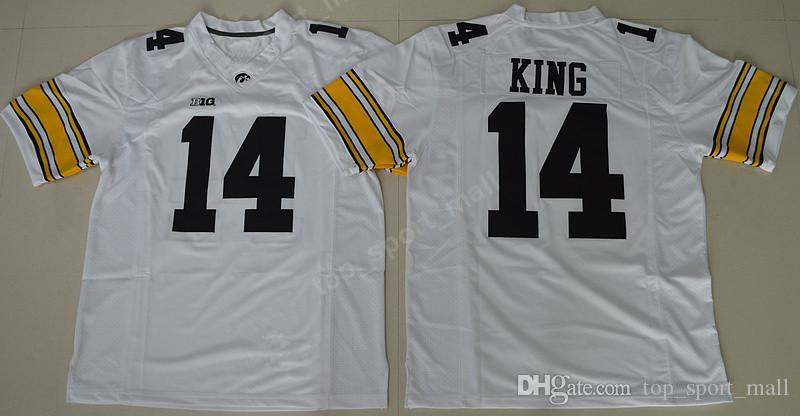 Iowa Hawkeyes Maglie NCAA College Football 14 Desmond King Jersey 16 CJ Beathard 94 Adrian Clayborn Big Ten University cucita nero bianco