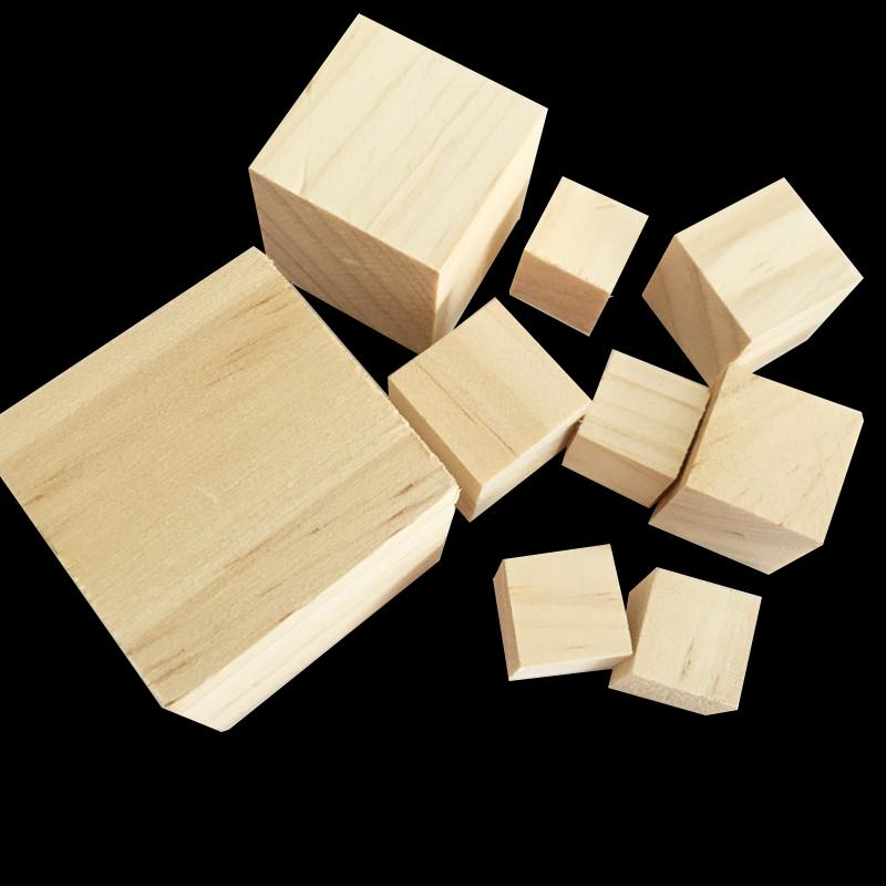 DIY Crafts Wooden Square Blocks Unfinished Wood Solid Wood Cube Mini Cubes  DIY Woodwork Craft Embellishment for Wedding Christmas Party