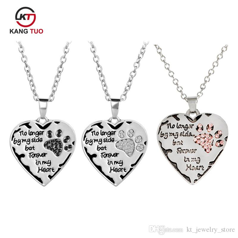 Heart Paws Pendant Necklace Letter No Longer By My Side But Forever In My  Heart of Charm Women Men Love Friends Choker Gifts