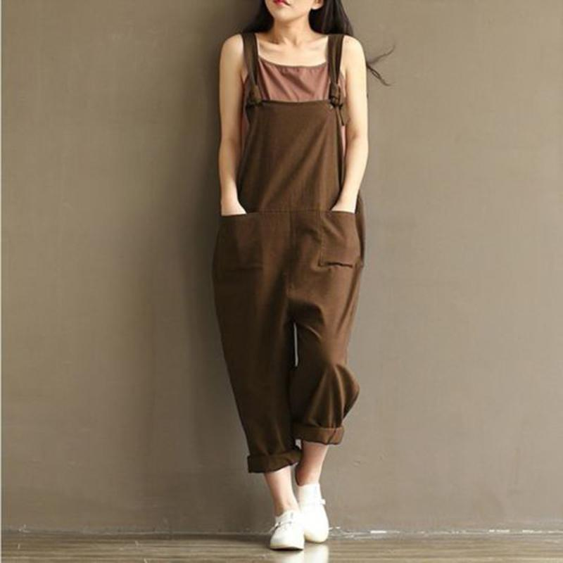 Casual Women's Jumpsuits Fashion Loose Woman Linen Romper Sleeveless Female Cotton Blend Jumpsuits Solid Ladies Harem Rompers