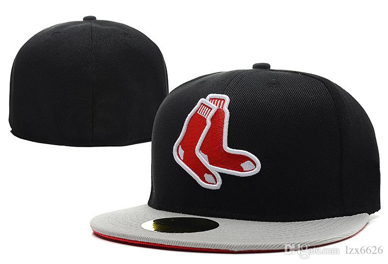 9ab57c1ff90 2018 Men S Red Sox Socks Fitted Baseball Caps Black Top Gray Brim Socks  Logo Sports Closed Hats Outdoor Fashion Hip Hop Chapeau Bones Snapback Cap  Cool Hats ...